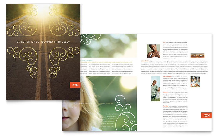 Christian church religious brochure template word for Free catalog templates for publisher