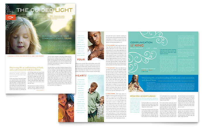 Christian Church Religious Newsletter Template Design