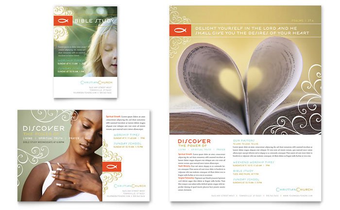 Christian church religious flyer ad template word for Church brochure templates free