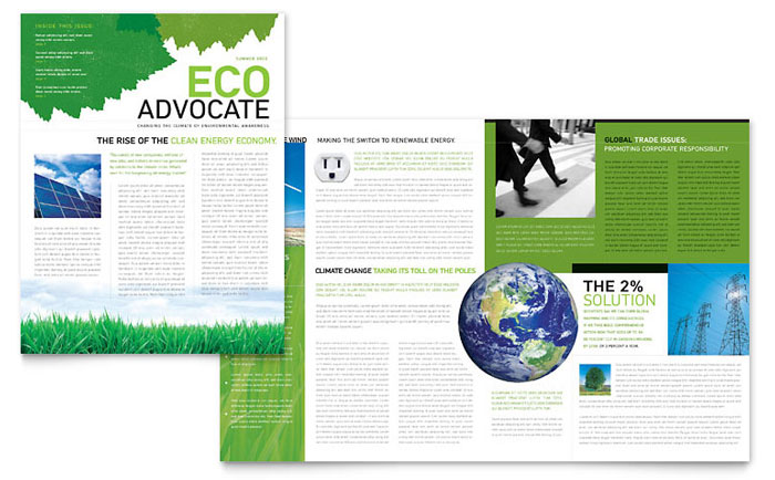 environmental non profit newsletter template word publisher