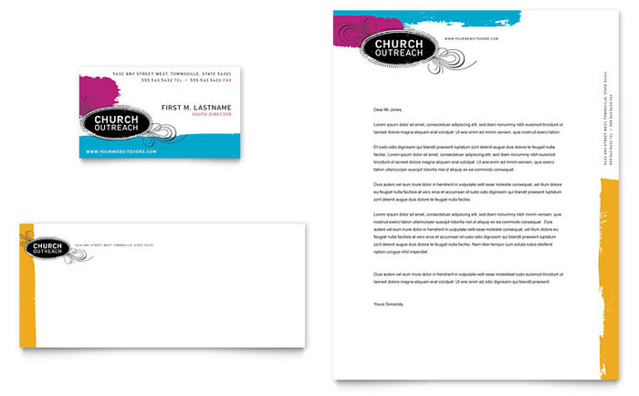 Church Outreach Ministries Business Card & Letterhead Template Download - Word & Publisher - Microsoft Office