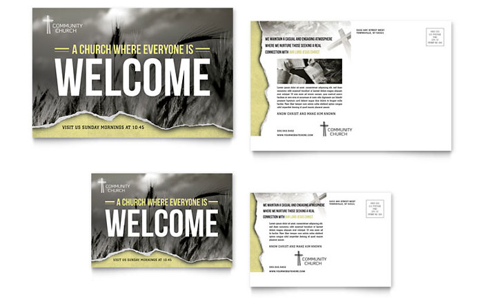 Bible church postcard template word publisher for Postcard size template word