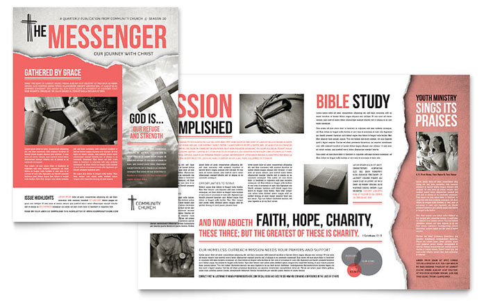 Bible Church Newsletter Template   Word & Publisher