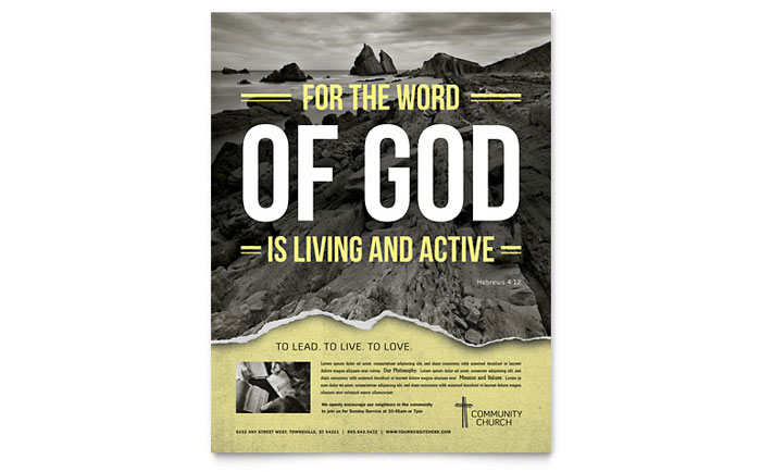Bible Church Flyer Template - Word & Publisher