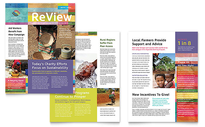 humanitarian aid organization newsletter template word publisher