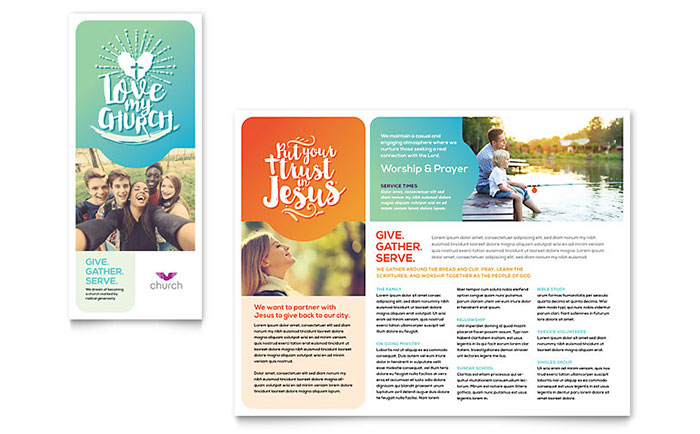 Church Brochure Template Word Publisher - Free indesign tri fold brochure templates
