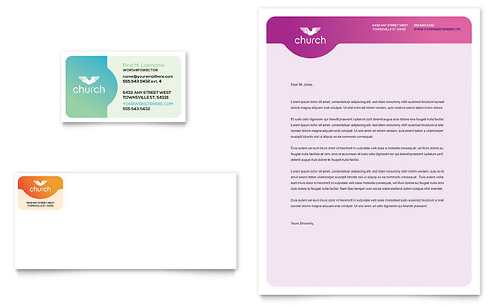 Church Business Card & Letterhead Template Download - Word & Publisher - Microsoft Office