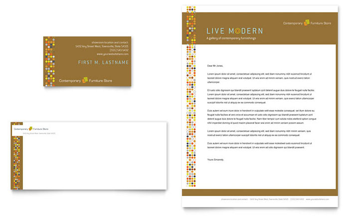 Furniture Store Business Card & Letterhead Template Download - Word & Publisher - Microsoft Office