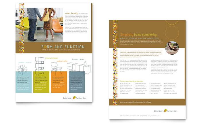Furniture Store Datasheet Template  Word  Publisher
