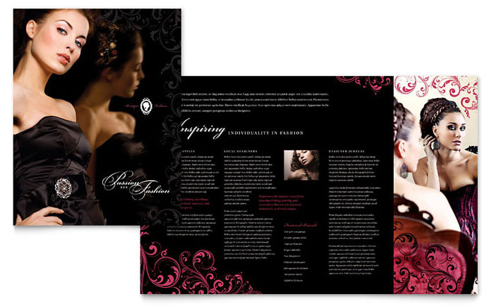 Formal Fashions & Jewelry Boutique Brochure Template - Word