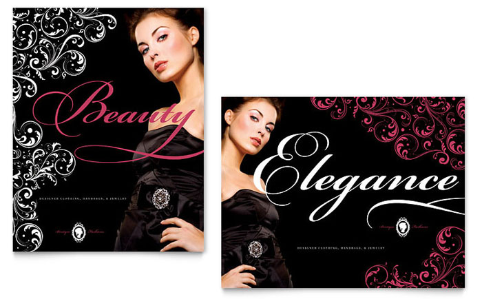Formal Fashions & Jewelry Boutique Poster Template Download - Word & Publisher - Microsoft Office