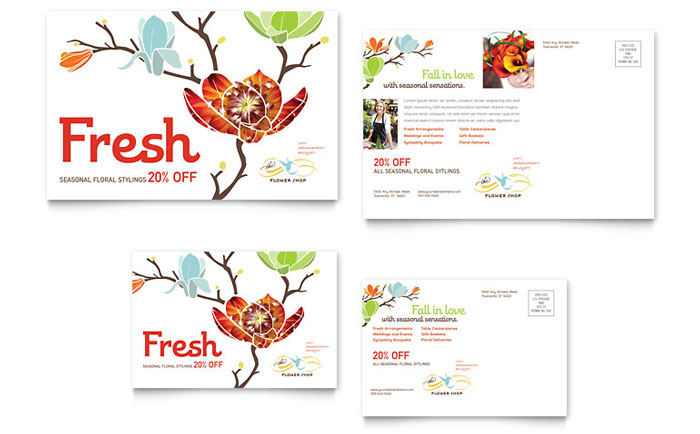 Flower shop postcard template word publisher for Postcard size template word