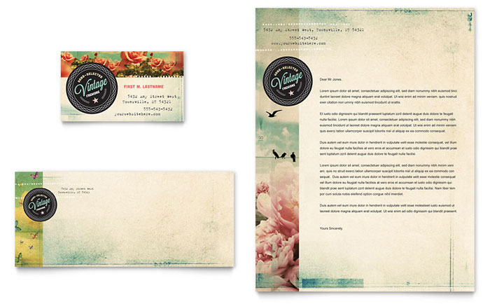Vintage Clothing Business Card & Letterhead Template Download - Word & Publisher - Microsoft Office