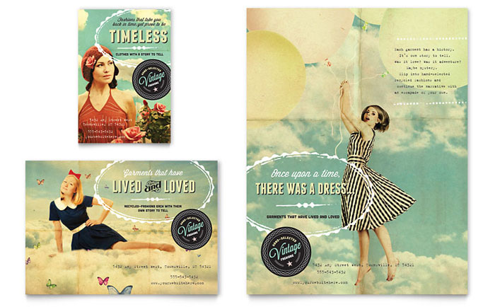 Vintage clothing flyer ad template word publisher for Ad designs