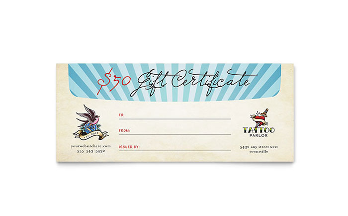 Body Art & Tattoo Artist Gift Certificate Template Download - Word & Publisher - Microsoft Office