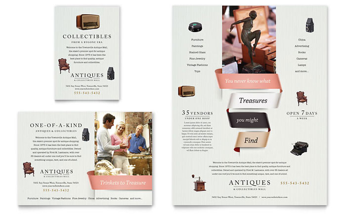 Antique Mall Flyer & Ad Template - Word & Publisher