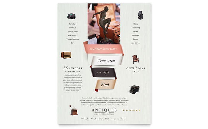 Antique Mall Flyer Template Download - Word & Publisher - Microsoft Office