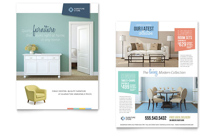 Home Furnishings Datasheet Template - Word & Publisher