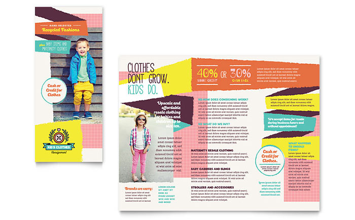 Kids Consignment Shop Brochure Template Word Publisher
