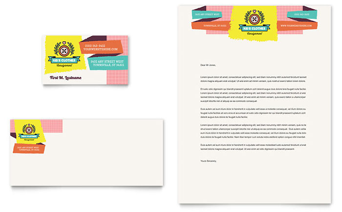 Kids Consignment Shop Business Card & Letterhead Template Download - Word & Publisher - Microsoft Office