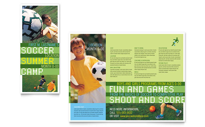 Soccer Sports Camp Brochure Template - Word & Publisher