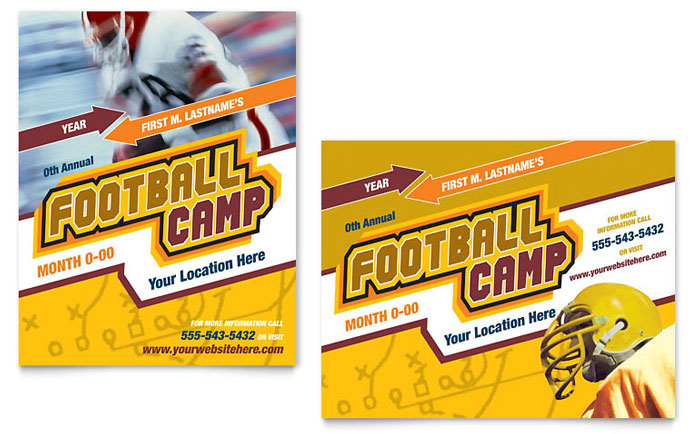 Football Sports Camp Poster Template - Word & Publisher