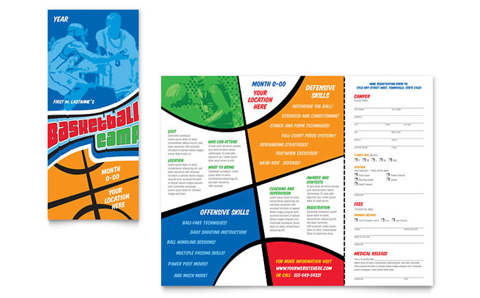 brochure templates word free download - basketball sports camp brochure template word publisher
