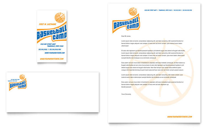 Basketball sports camp business card letterhead template for Baseball card template microsoft word