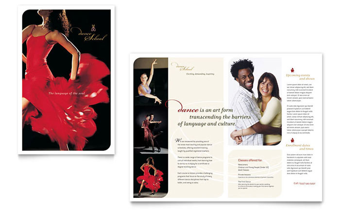 Dance School Brochure Template - Word & Publisher