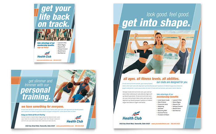 Health  Fitness Gym Flyer  Ad Template  Word  Publisher
