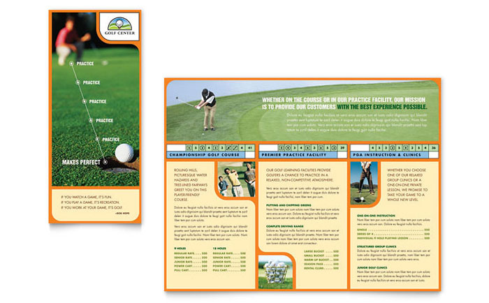 golf instructor  u0026 course brochure template