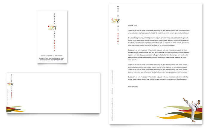 Karate & Martial Arts Business Card & Letterhead Template Download - Word & Publisher - Microsoft Office