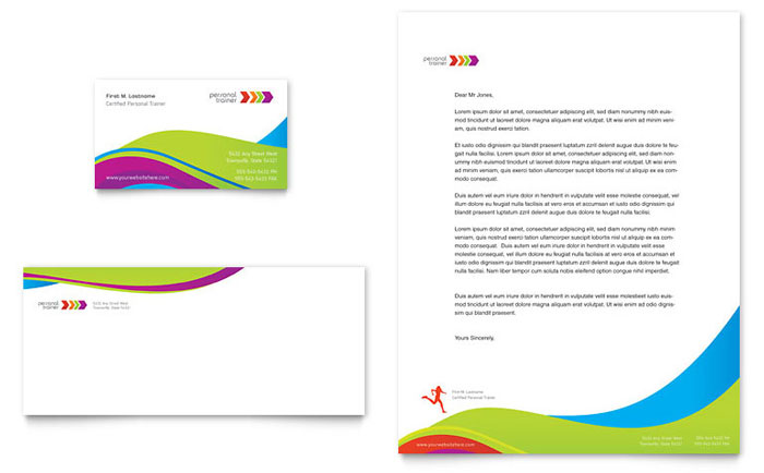Personal trainer business card letterhead template word publisher wajeb Image collections