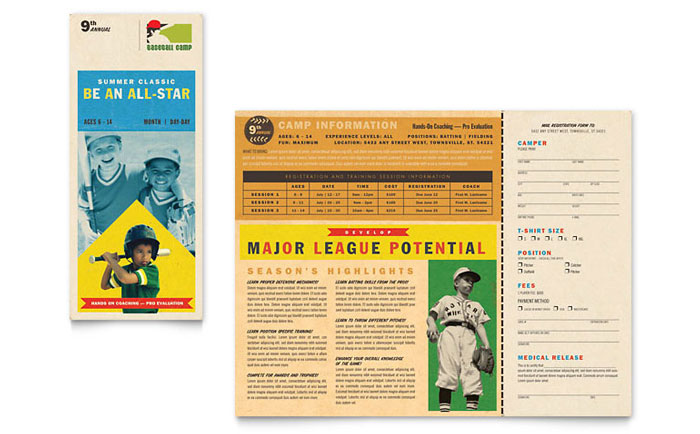 baseball brochure template baseball sports camp brochure template word publisher