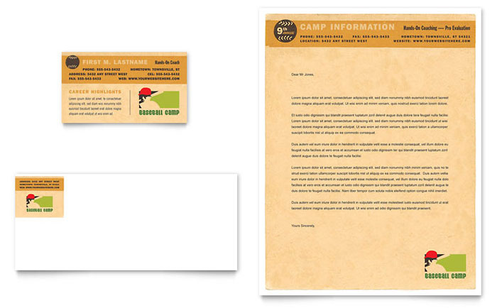 Baseball sports camp business card letterhead template for Baseball card template microsoft word