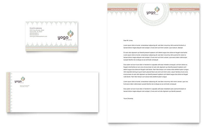 Pilates yoga business card letterhead template word publisher spiritdancerdesigns
