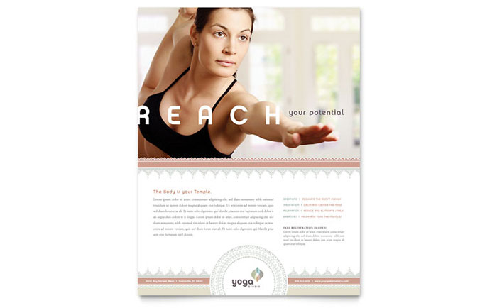 Pilates yoga flyer template word publisher yadclub Images