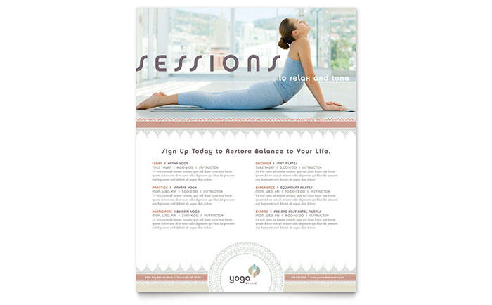 Pilates & Yoga Class Flyer Template - Word & Publisher