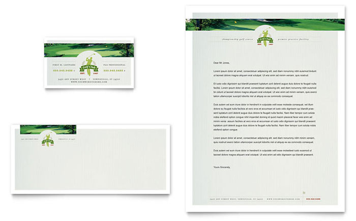 Golf Course & Instruction Business Card & Letterhead Template - Word & Publisher