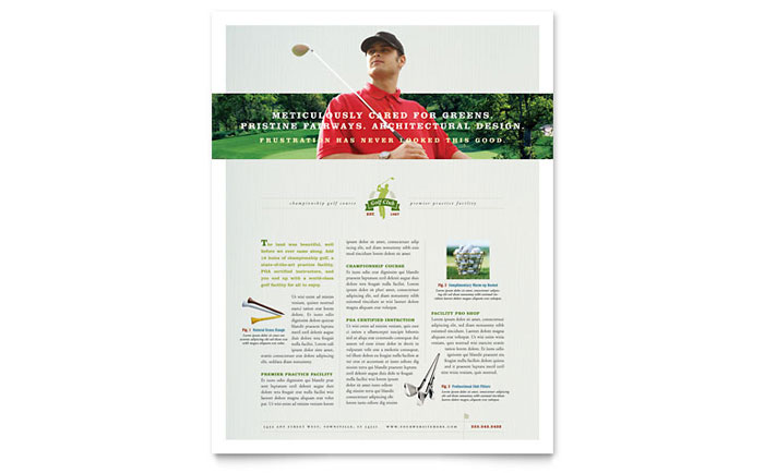Golf course instruction flyer template word publisher for Instruction leaflet template