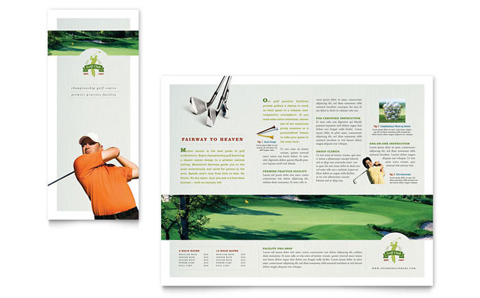 golf course  u0026 instruction tri fold brochure template