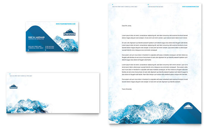 Ski & Snowboard Instructor Business Card & Letterhead Template Download - Word & Publisher - Microsoft Office