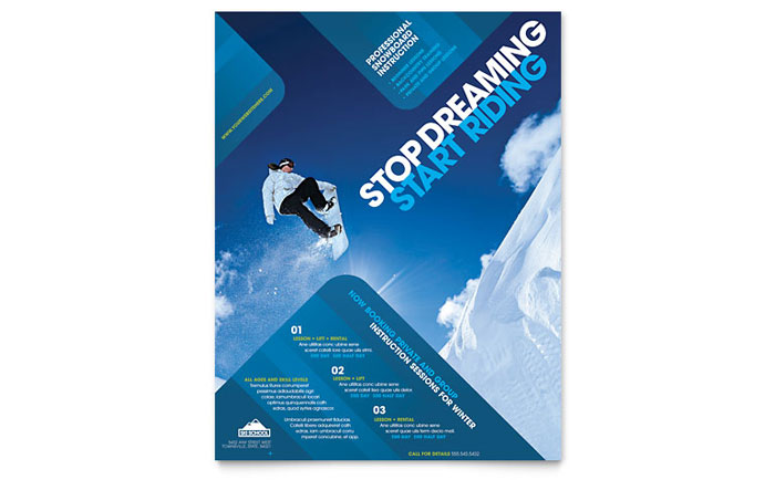 Ski & Snowboard Instructor Flyer Template - Word & Publisher