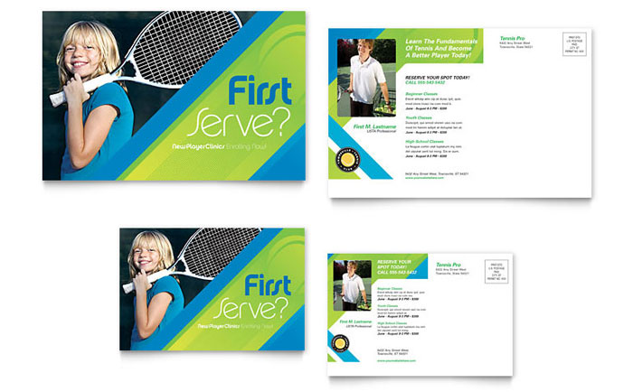 tennis club  u0026 camp postcard template