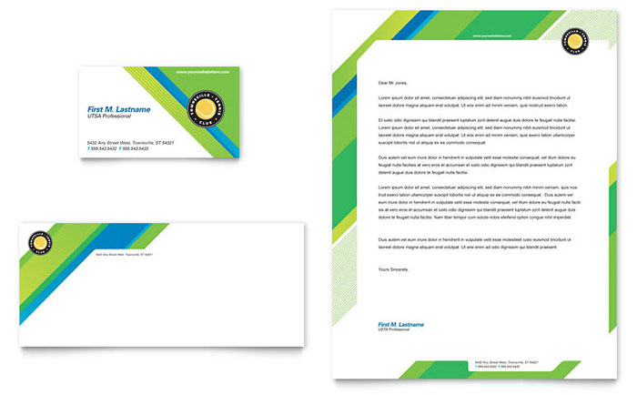 Tennis Club Camp Business Card Letterhead Template Word - Microsoft office templates business cards