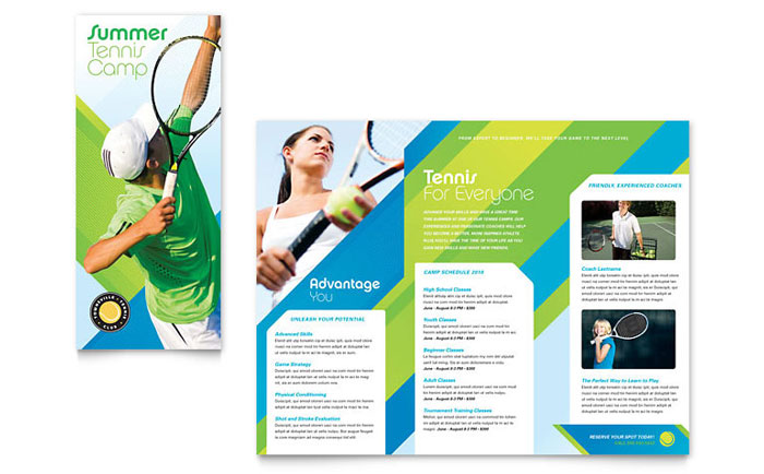 Tennis club camp tri fold brochure template word for Free travel brochure templates for microsoft word