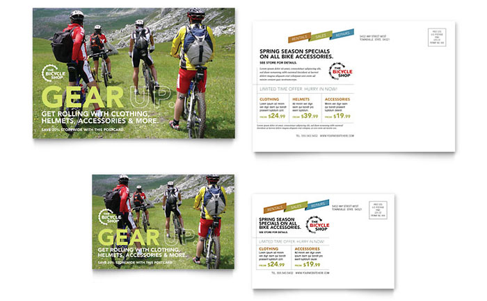 Bike Rentals & Mountain Biking Postcard Template - Word & Publisher