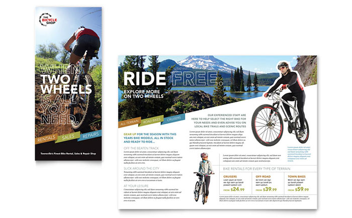 bike rentals  u0026 mountain biking tri fold brochure template