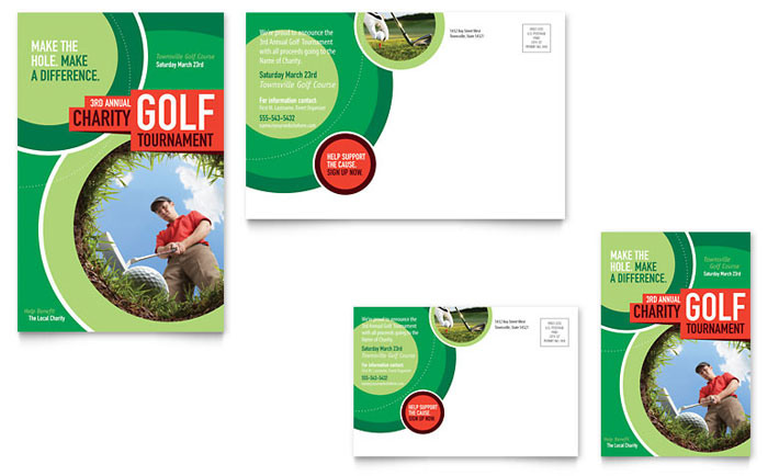 Golf Tournament Postcard Template  Word  Publisher