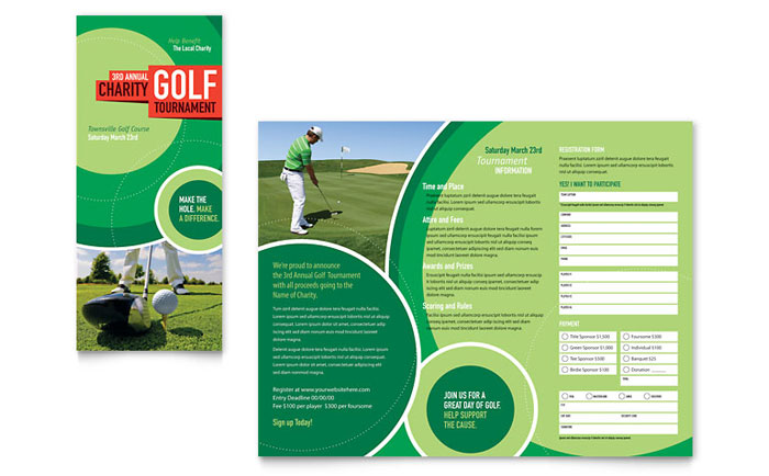 Golf tournament tri fold brochure template word publisher for Publisher brochure templates